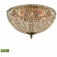 15963/8-LED ELK Lighting Elizabethan 8-Light Flush Mount in Dark Bronze with Clear Crystal - Includes LED Bulbs