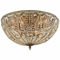 15964/10 ELK Lighting Elizabethan 10-Light Flush Mount in Dark Bronze with Clear Crystal