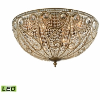 15964/10-LED ELK Lighting Elizabethan 10-Light Flush Mount in Dark Bronze with Clear Crystal - Includes LED Bulbs