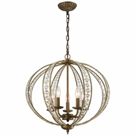 15965/5 ELK Lighting Elizabethan 5-Light Chandelier in Dark Bronze with Clear Crystal
