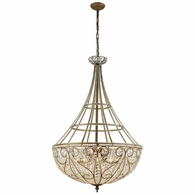 15967/10 ELK Lighting Elizabethan 10-Light Chandelier in Dark Bronze with Clear Crystal