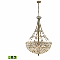 15967/10-LED ELK Lighting Elizabethan 10-Light Chandelier in Dark Bronze with Clear Crystal - Includes LED Bulbs