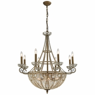 15968/8+6 ELK Lighting Elizabethan 14-Light Chandelier in Dark Bronze with Clear Crystal