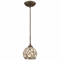 15976/1 ELK Lighting Elizabethan 1-Light Mini Pendant in Dark Bronze with Crystal