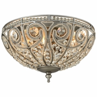 15993/3 ELK Lighting Elizabethan 3-Light Flush Mount in Weathered Zinc with Clear Crystal