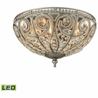 15993/3-LED ELK Lighting Elizabethan 3-Light Flush Mount in Weathered Zinc with Clear Crystal - Includes LED Bulbs