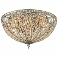15994/6 ELK Lighting Elizabethan 6-Light Flush Mount in Weathered Zinc with Clear Crystal