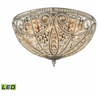 15994/6-LED ELK Lighting Elizabethan 6-Light Flush Mount in Weathered Zinc with Clear Crystal - Includes LED Bulbs