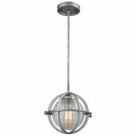 16172/1 ELK Lighting Aubridge 1-Light Mini Pendant in Weathered Zinc with Clear Ribbed Blown Glass