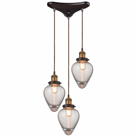 16325/3 ELK Lighting Bartram 3-Light Triangular Pendant Fixture in Antique Brass and Oiled Bronze with Clear Optic Glass