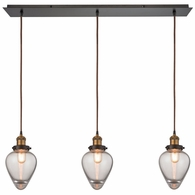 16325/3LP ELK Lighting Bartram 3-Light Linear Mini Pendant Fixture in Antique Brass and Oiled Bronze with Clear Optic Glass
