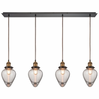 16325/4LP ELK Lighting Bartram 4-Light Linear Pendant Fixture in Antique Brass and Oiled Bronze with Clear Optic Glass