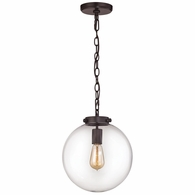 16371/1 ELK Lighting Gramercy 1-Light Mini Pendant in Oil Rubbed Bronze with Clear Glass