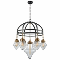 16461/7 ELK Lighting Gramercy 7-Light Chandelier in Classic Brass and Oil Rubbed Bronze with Clear Glass