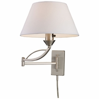 17016/1 ELK Lighting Elysburg 1-Light Swingarm Wall Lamp in Satin Nickel with White Fabric Shade