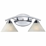 17021/2 ELK Lighting Elysburg 2-Light Vanity Lamp in Polished Chrome with White Marbleized Glass