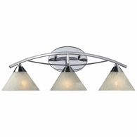 17023/3 ELK Lighting Elysburg 3-Light Vanity Lamp in Polished Chrome with White Marbleized Glass