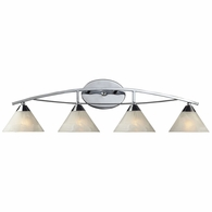 17024/4 ELK Lighting Elysburg 4-Light Vanity Lamp in Polished Chrome with White Marbleized Glass