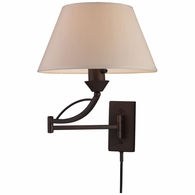 17026/1 ELK Lighting Elysburg 1-Light Swingarm Wall Lamp in Aged Bronze with Off-white Shade