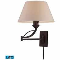 17026/1-LED ELK Lighting Elysburg 1-Light Swingarm Wall Lamp in Aged Bronze with Off-white Shade - Includes LED Bulb