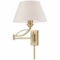 17046/1 ELK Lighting Elysburg 1-Light Swingarm Wall Lamp in French Brass with White Fabric Shade