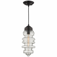 17205/1 ELK Lighting Cipher 1-Light Mini Pendant in Oil Rubbed Bronze with Clear Glass