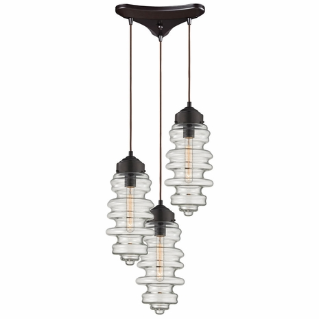17205/3 ELK Lighting Cipher 3-Light Triangular Pendant Fixture in Oil Rubbed Bronze with Clear Glass