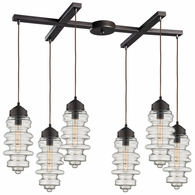 17205/6 ELK Lighting Cipher 6-Light H-Bar Pendant Fixture in Oil Rubbed Bronze with Clear Glass