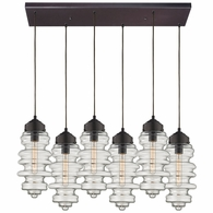 17205/6RC ELK Lighting Cipher 6-Light Rectangular Pendant Fixture in Oil Rubbed Bronze with Clear Glass