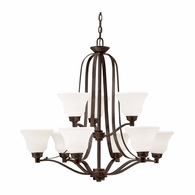 1784OZ Kichler Transitional 2 Tier Chandelier 9Lt
