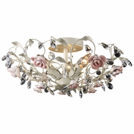 18096/3 ELK Lighting Heritage 3-Light Semi Flush in Cream with Porcelain Roses and Crystal