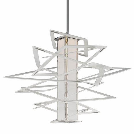 185-44 Corbett Tantrum 1Lt Pendant Extra Large White with White With Polished Stainless Finish