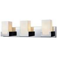 19502/3 ELK Lighting Balcony 3-Light Vanity Sconce in Polished Chrome with Opal White Glass