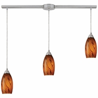 20001/3L-BG ELK Lighting Galaxy 3-Light Linear Pendant Fixture in Satin Nickel with Brown Glass
