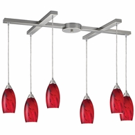 20001/6RG ELK Lighting Galaxy 6-Light H-Bar Pendant Fixture in Satin Nickel with Red Glass