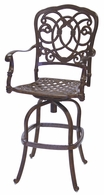 201020-7 Darlee Signature Florence Swivel Bar Stool in Mocha or Antique Bronze