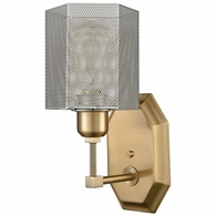 21110/1 ELK Lighting Compartir 1-Light Wall Lamp in Satin Brass with Perforated Metal Shade