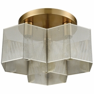 21111/3 ELK Lighting Compartir 3-Light Semi Flush in Satin Brass with Perforated Metal Shade