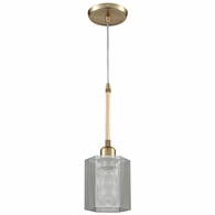 21112/1 ELK Lighting Compartir 1-Light Mini Pendant in Satin Brass with Perforated Metal Shade