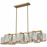 21114/10 ELK Lighting Compartir 10-Light Linear Chandelier in Satin Brass with Perforated Metal Shades