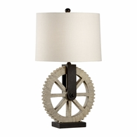 21730 Wildwood Lamps Bob Timberlake Composite Textured Light Wood Gearwheel Lamp