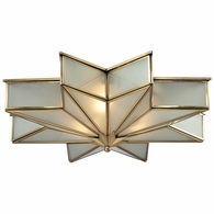 22011/3 ELK Lighting Decostar 3-Light Flush Mount in Brushed Brass with Frosted Glass Panels