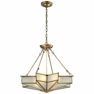 22012/4 ELK Lighting Decostar 4-Light Chandelier in Brushed Brass with Frosted Glass Panels