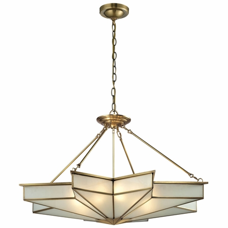 22013/8 ELK Lighting Decostar 8-Light Chandelier in Brushed Brass with Frosted Glass Panels