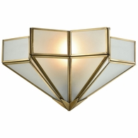 22015/1 ELK Lighting Decostar 1-Light Sconce in Brushed Brass with Frosted Glass Panels