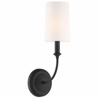 2241-BF Crystorama Libby Langdon For Crystorama Sylvan 1 Light Black Forged Sconce