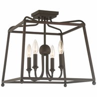 2243-DB-NOSHADE Crystorama Libby Langdon for Crystorama Sylvan 4 Light Dark Bronze Ceiling Mount