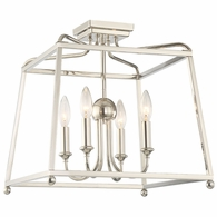 2243-PN-NOSHADE Crystorama Libby Langdon for Crystorama Sylvan 4 Light Polished Nickel Ceiling Mount