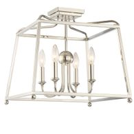 2243-PN_NOSHADE Crystorama Libby Langdon for Crystorama Sylvan 4 Light Polished Nickel Ceiling Mount