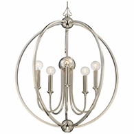 2247-PN-NOSHADE Crystorama Libby Langdon for Crystorama Sylvan 5 Light Polished Nickel Chandelier